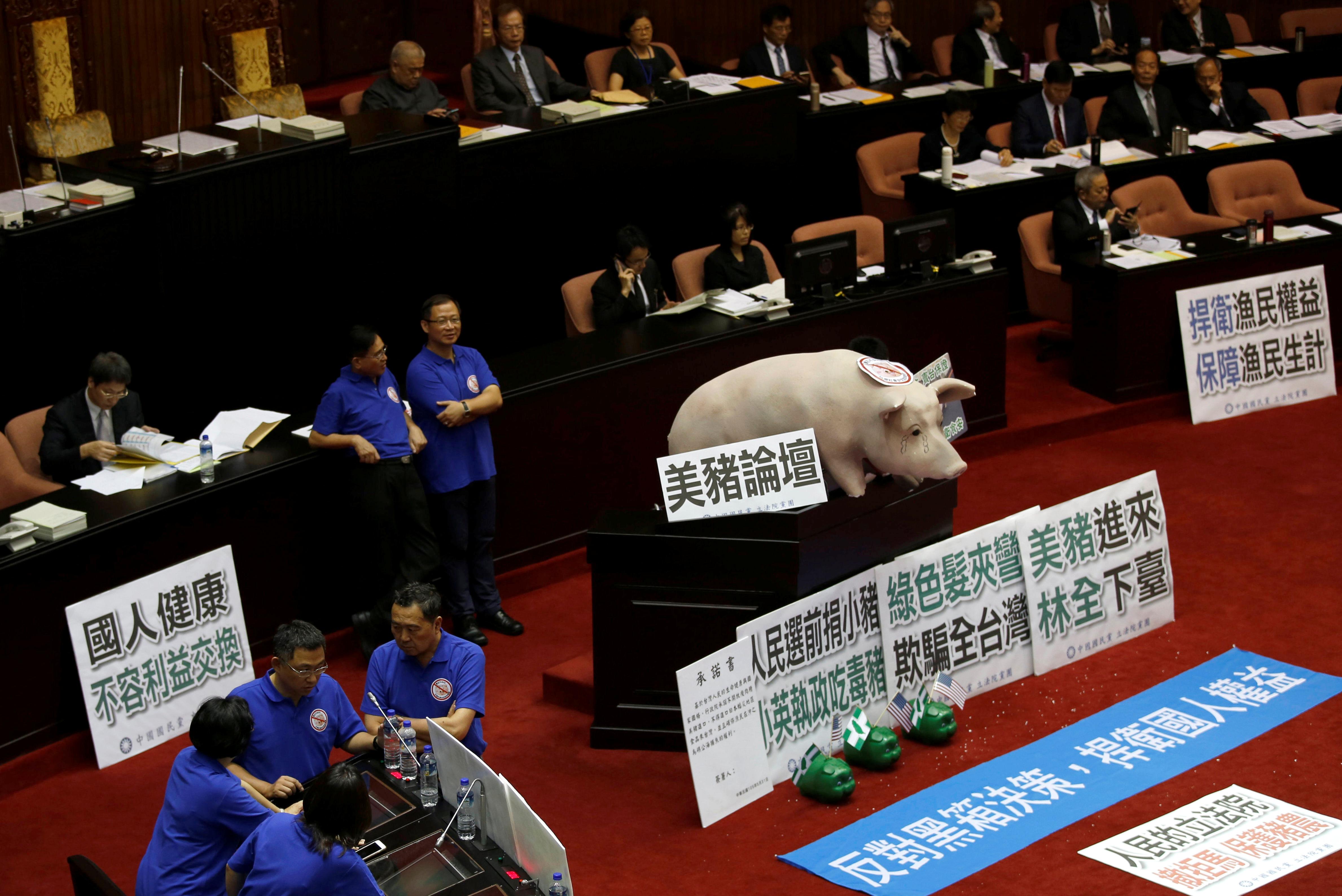 TAIPEI, TAIWAN: Nasjonalistpartiet i Taiwan plasserte en modellgris i parlamentet i Taipei for å protestere mot statsminister Lin Chuan og for å stanse import av amerikansk svinekjøtt som inneholder stoffer som gjør svin magrere. FOTO: Tyrone Siu / NTB scanpix