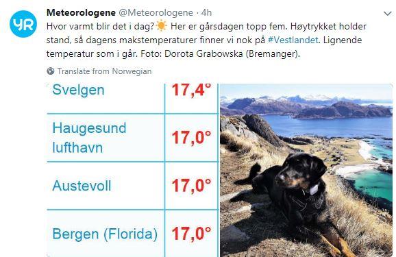 (FOTO: Meteorologisk institutt @meteorologene på Twitter)