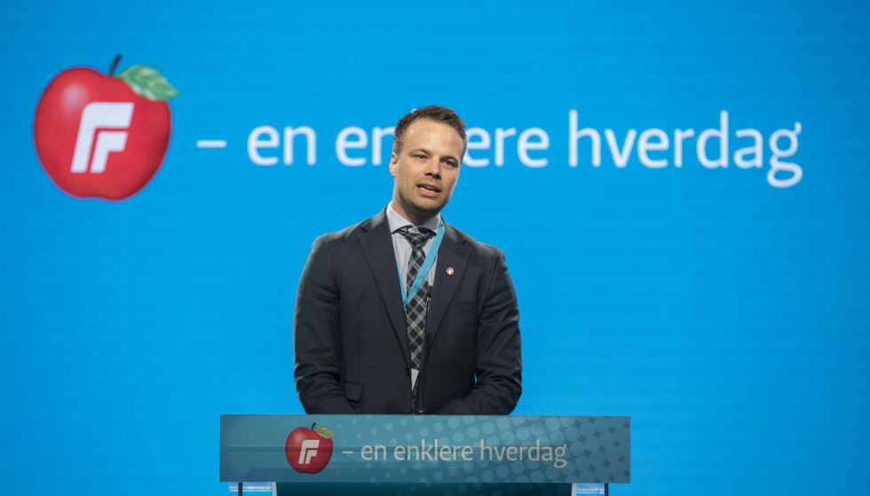 Jon Helgheim (Frp) på talerstolen under Fremskrittspartiets landsmøte. Foto: Vidar Ruud / NTB scanpix