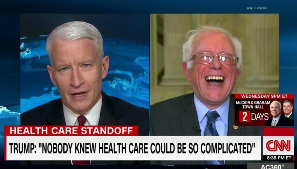 Bernie Sanders brøt ut i latter da han hørte Trumps uttalelse