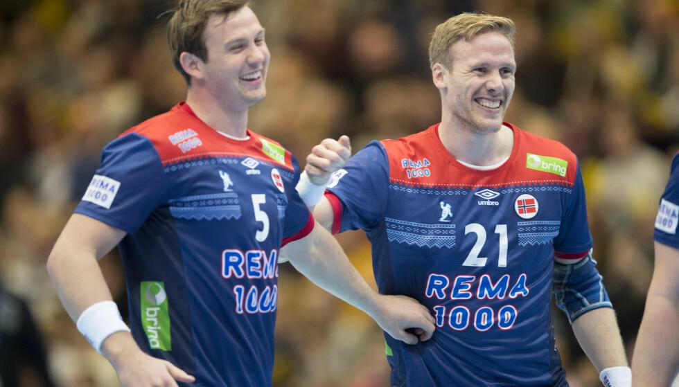 Sander Sagosen og Magnus Gullerud er blant spillerne som skal forsøke å føre det norske håndballandslaget til VM-suksess i Danmark og Tyskland. Foto: Vidar Ruud / NTB scanpix