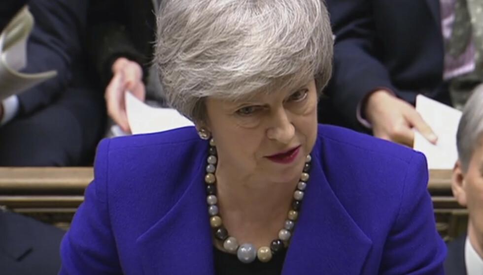 Theresa May ba tirsdag Underhuset om mer tid til å forhandle med EU. Arkivfoto: PA / AP / NTB scanpix