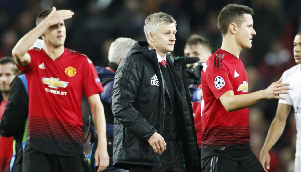 Ole Gunnar Solskjær var nedstemt, men ikke utslått etter tirsdagens nederlag mot PSG hjemme på Old Trafford. Foto: Erik Johansen / NTB scanpix