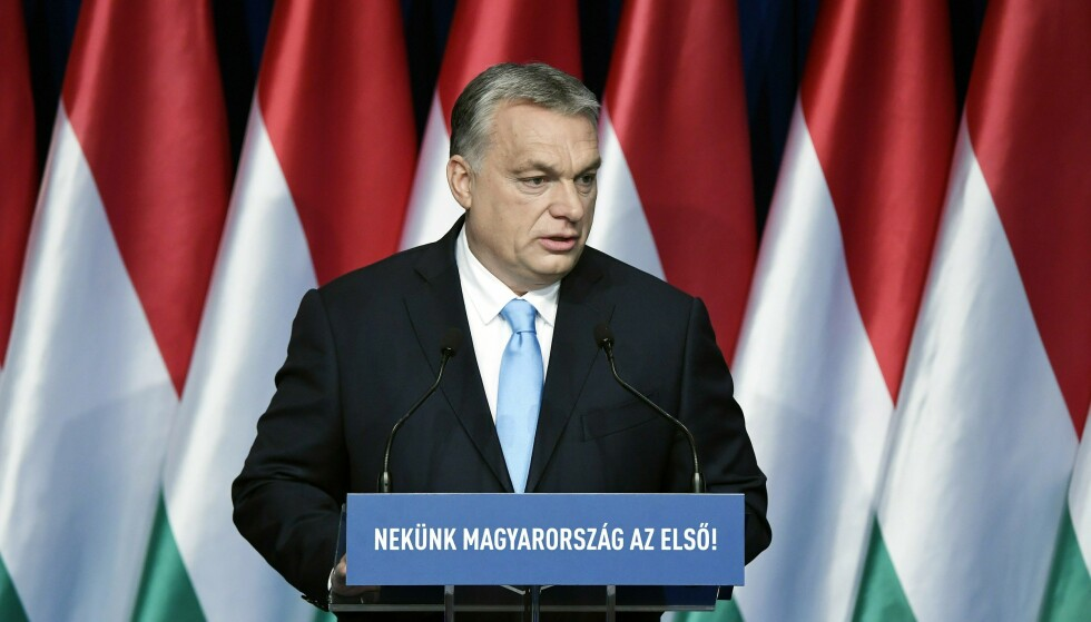 Ungarns statsminister Viktor Orban under en tale i Budapest. Foto: NTB Scanpix