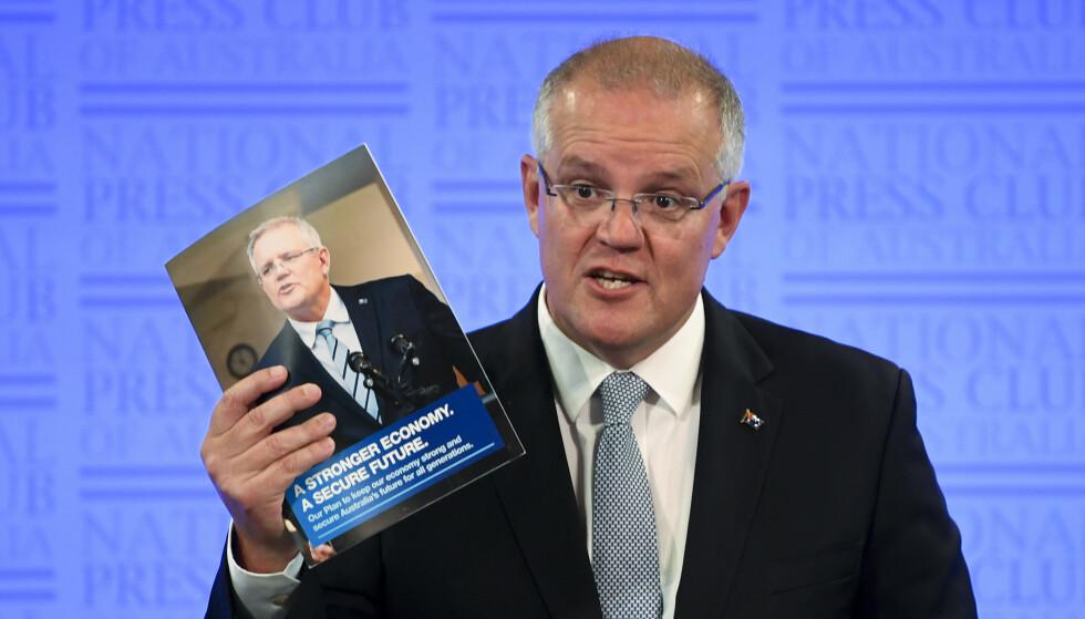 Australias statsminister Scott Morrison under en tale 11. februar. Foto: AP/NTB Scanpix
