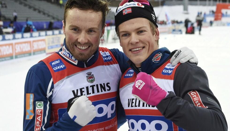 Emil Iversen (til venstre) og Johannes Høsflot Klæbo er gullkandidater i Seefeld. Her under et renn i Lahti tidligere i februar. Foto: Markku Ulander / Lehtikuva / NTB scanpix