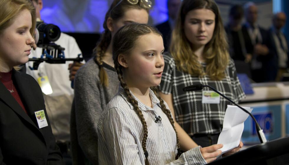 Greta Thunberg deltar også i en klimamarsj i Brussel senere på dagen. Foto: Virginia Mayo AP/NTB Scanpix