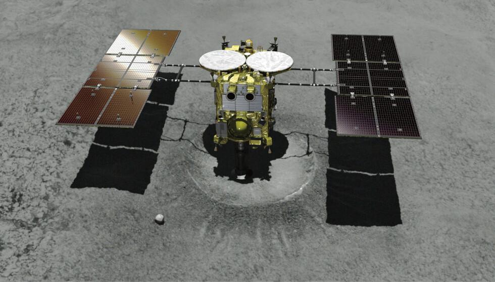 Dette grafiske bildet viser hvordan sonden nærmet seg asteroiden 280 millioner kilometer unna jorda. (Foto: AP).