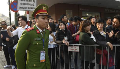 Sikkerhetsvakt nær stedet hvor Donald Trump og Kim Jong-un skal spise middag i Hanoi onsdag. Foto: Susan Walsh / AP / NTB scanpix