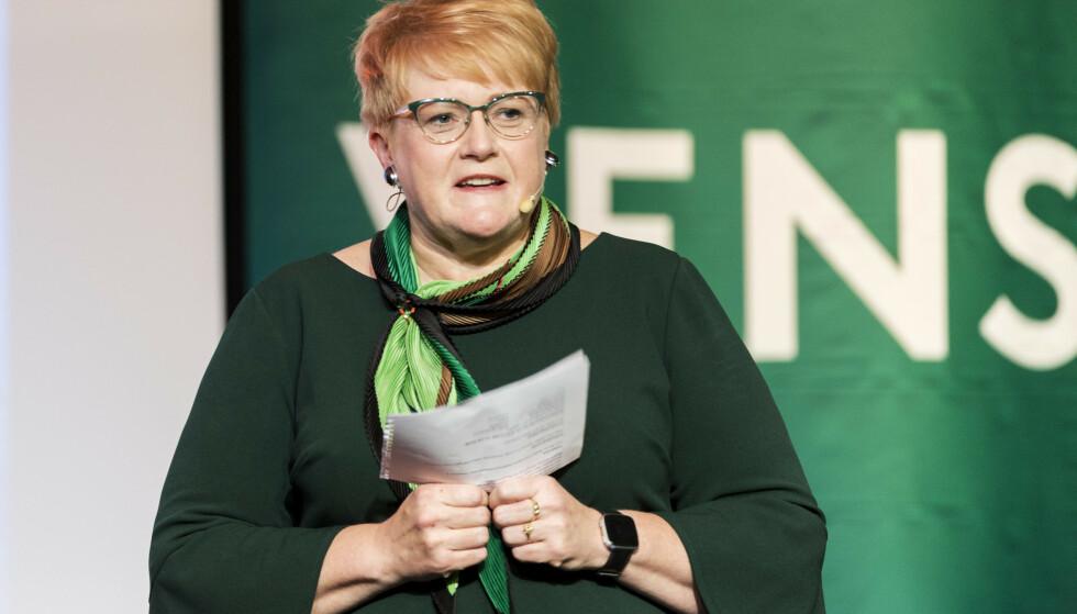 Venstre-leder Trine Skei Grande snakket om kvinnekampens seire i sin landsmøtetale, og nevnte både p-pillen og stemmerett for kvinner, men ikke abort. Foto: Ned Alley / NTB scanpix.
