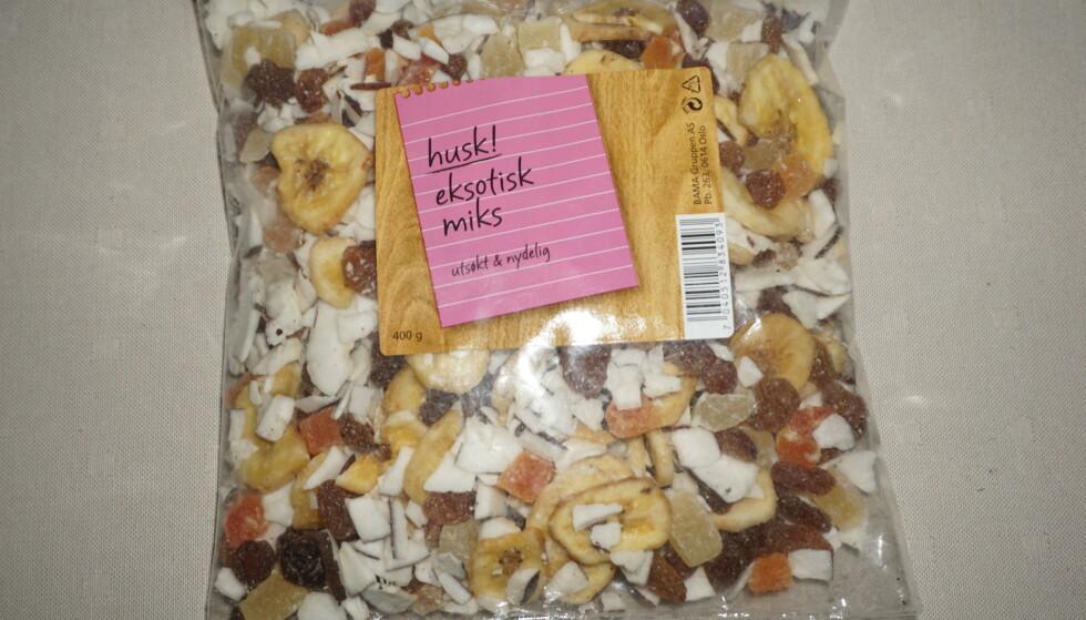 Det er påvist salmonella i produktet «Eksotisk Miks» fra Bama, opplyser Mattilsynet.