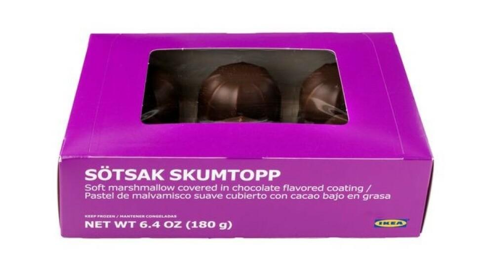 TILBAKEKALLES: IKEA tilbakekaller SÖTSAK SKUMTOPP, skumboller med sjokolade, 180 g, grunnet uklar innholdsfortegnelse av allergenet melk i listen over ingredienser. Foto: IKEA / NTB scanpix.