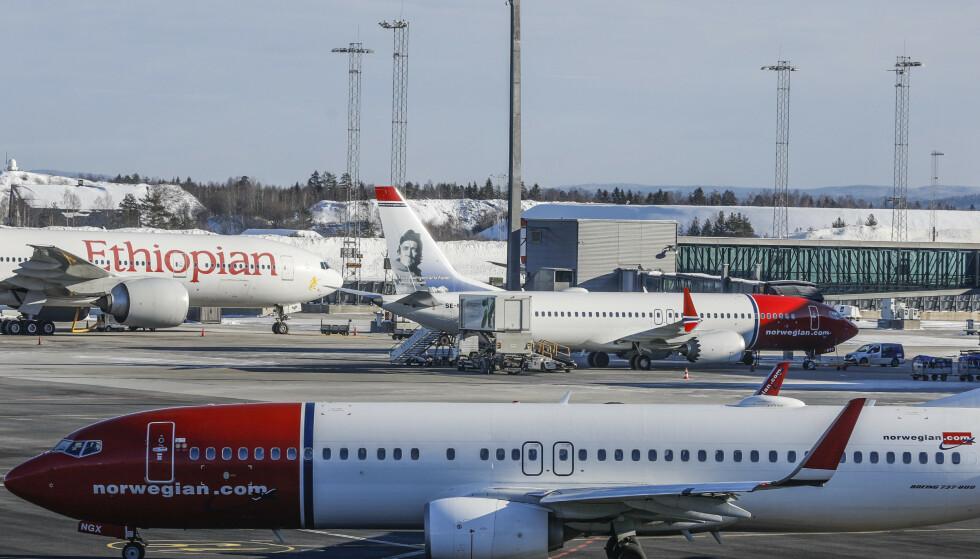 Norwegian har besluttet å midlertidig setter flyene av type Boeing 737 MAX 8 på bakken. Foto: Gorm Kallestad / NTB scanpix