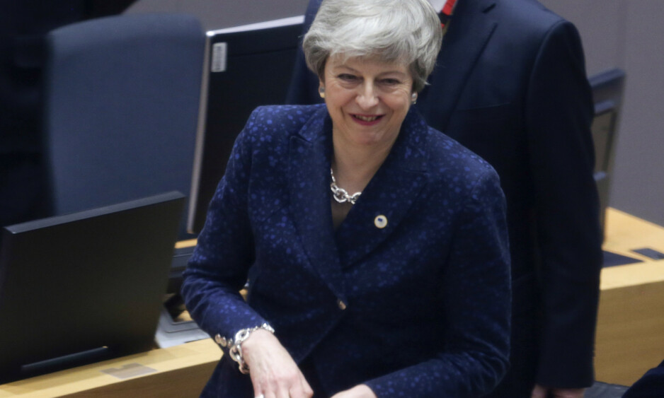 BREXIT: Storbritannias statsminister Theresa May ankommer EU-møtet i Brussel torsdag. Foto: Aris Oikonomou, Pool Photo via AP / Scanpix.