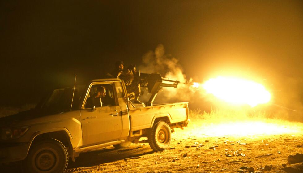 IS-OMRÅDE GJENEROBRET: Trump har i flere dager hevdet at den endelige seieren over IS i Syria var rett rundt hjørnet, og ifølge Trumps talskvinne, Sarah Sanders, er seieren nå et faktum. Foto: Maya Alleruzzo/AP/NTB Scanpix.