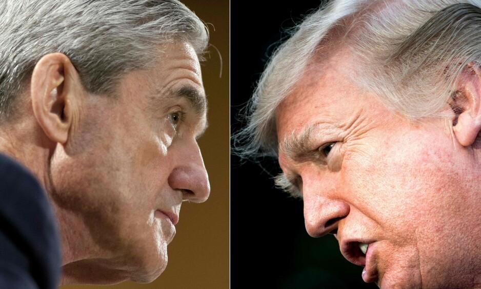<strong>MUELLER-RAPPORT:</strong> Spesialetterforsker Robert Mueller har fullført sin etterforskning av Donald Trump og Russland. Foto: SAUL LOEB and Brendan Smialowski / AFP/NTB Scanpix.