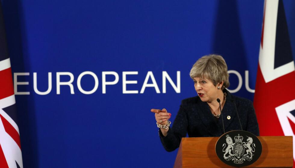 Statsminister Theresa Mays brexit-avtale har blitt nedstemt to ganger i Underhuset. Foto: AP / NTB scanpix