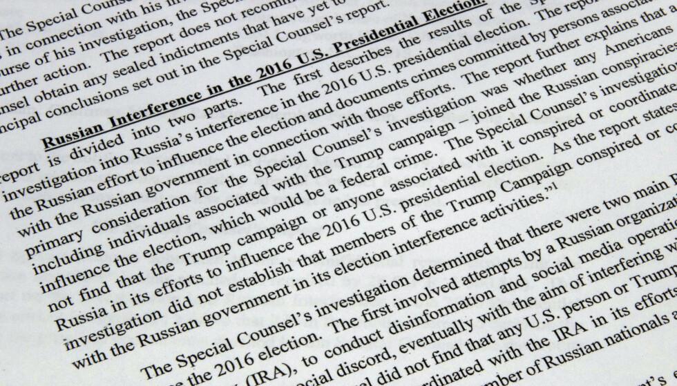 Justisminister William Barrs sammendrag av Mueller-rapporten. Foto: AP / NTB scanpix