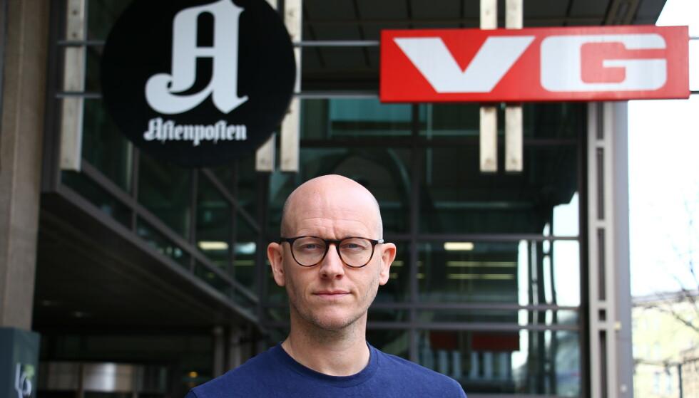 VGs digitalredaktør Ola Stenberg uttaler seg på vegne av VG-ledelsen i den pågående granskingen av Giske-saken. Foto: Alexander Vestrum / NTB scanpix