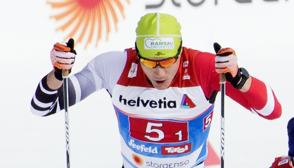 Den dopingmistenkte østerrikske skiløperen Max Hauke under sprint lag i ski-VM i Seefeld. Foto: Terje Pedersen / NTB scanpix
