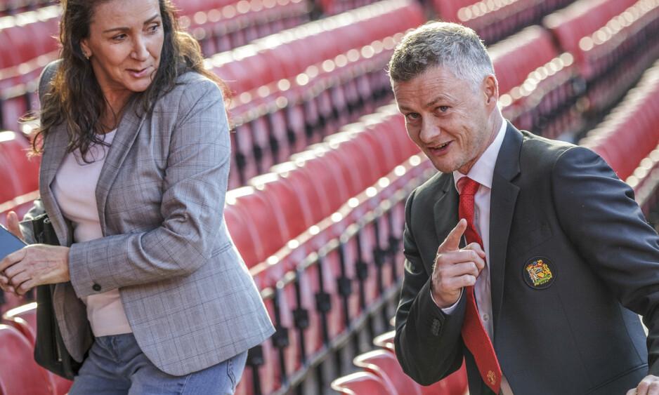 NY MANAGER: Ole Gunnar Solskjær møter pressen på Old Trafford torsdag ettermiddag. Nå er det klart at han får managerjobben for Manchester United på fast basis. Foto: Nina E. Rangøy / NTB scanpix.