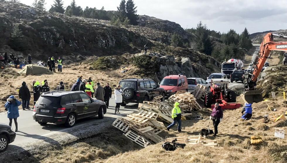Politiet har bøtelagt demonstrantenes biler som står langs veien på Frøya. Pallene ble brukt til å hindre anleggstrafikk til å kjøre forbi. Foto: Ronny Dybdahl / NTB scanpix