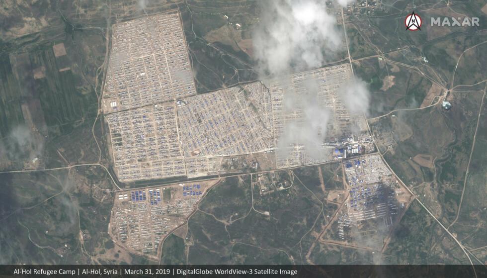 Dette satellittbildet viser Al-Hol-campen i nordøst i Syria (FOTO: Maxar Technologies via AP).