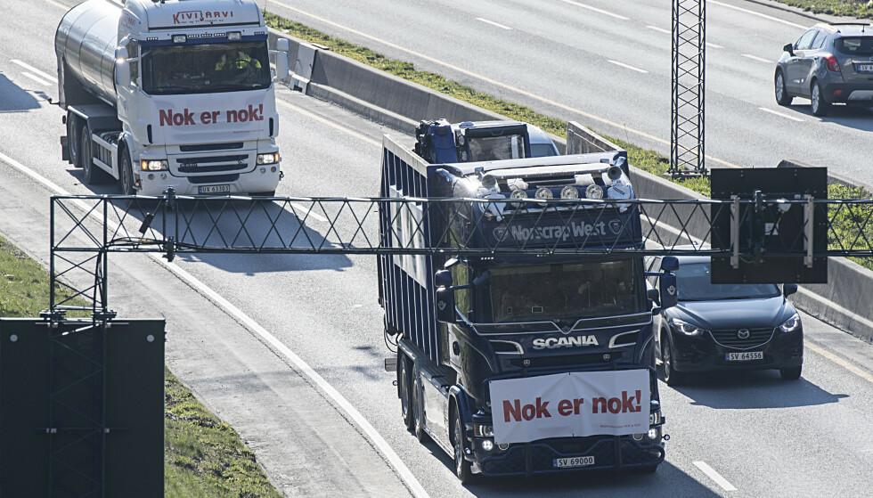 Det har vært flere protestaksjoner mot bomringen i Bergen, og en protestliste mot bompenger er nå tredje størst på en meningsmåling i byen. Arkivfoto: Marit Hommedal / NTB scanpix