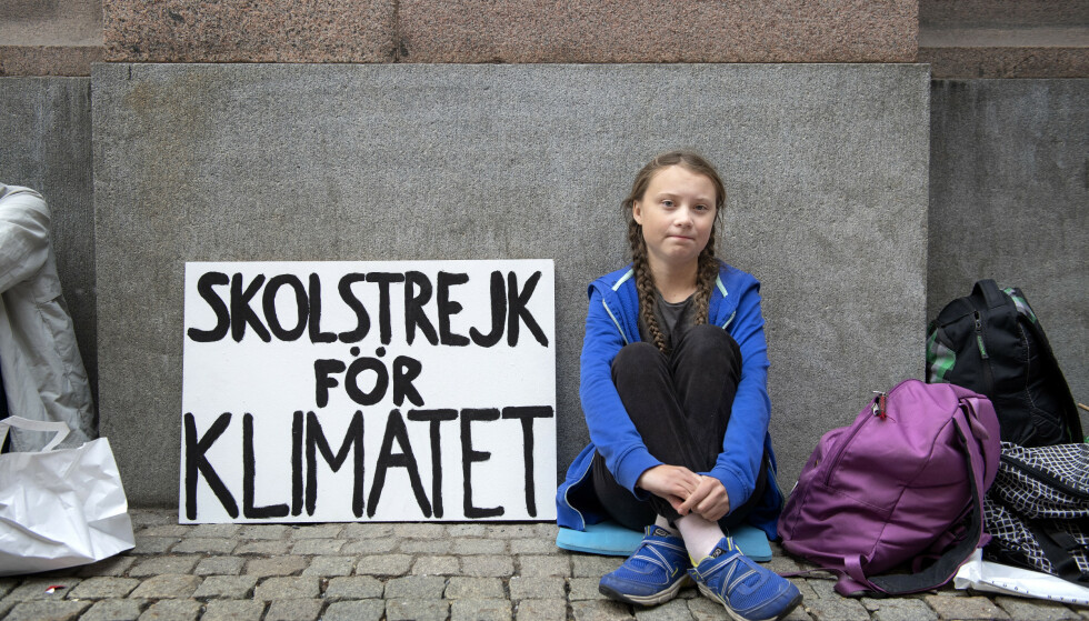 16 år gamle Greta Thunberg startet skolestreikene for klima. Foto: Jessica Gow/ TT / NTB scanpix