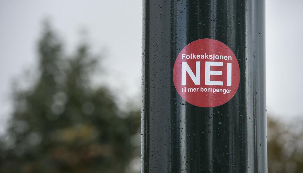 Folkeaksjonen nei til mer bompenger er registrert som parti og stiller liste i en rekke fylker og kommuner ved høstens valg. Foto: Carina Johansen / NTB scanpix