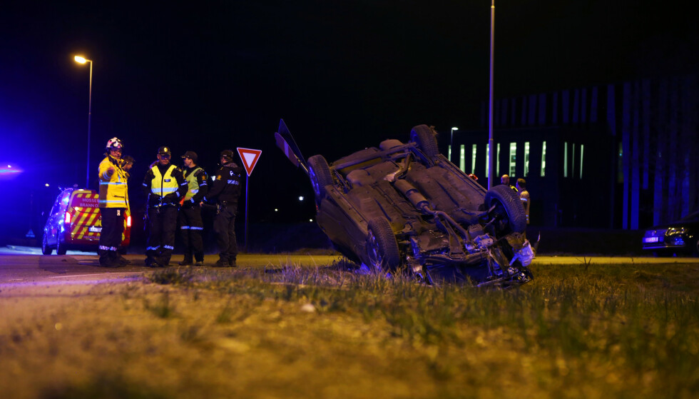 En mann omkom i en ulykke på Innfartsveien i Moss natt til søndag. Foto: Nyhetstips.no / NTB scanpix