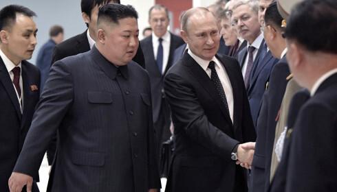 Russlands president Vladimir Putin (t.h.) og Nord-Koreas leder Kim Jong-un (t.v.) var skjønt enige om at møtet i Vladivostok var fruktbart. Foto: AP / NTB scanpix