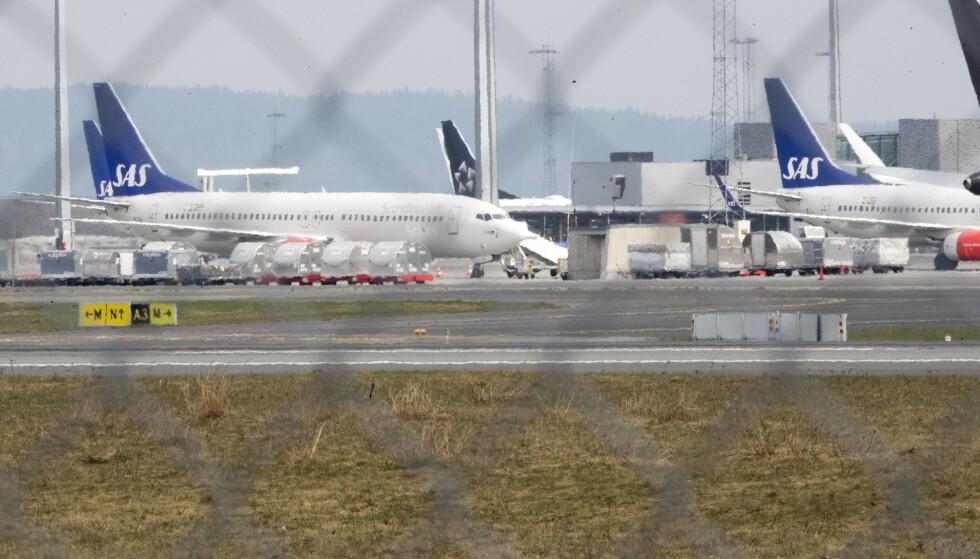 SAS har satt mange av sine fly på bakken etter at pilotene har gått ut i streik. Flyene er parkert på Gardermoen. Foto: Terje Pedersen / NTB scanpix