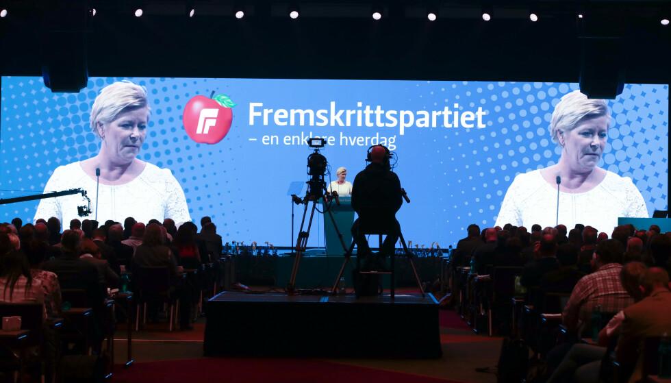 Partileder Siv Jensen holder åpningstalen på Frp sitt landsmøte 2019 Foto: Lise Åserud / NTB scanpix