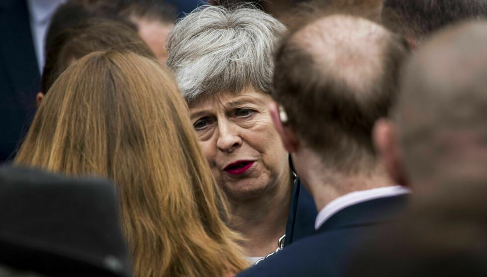 Storbritannias statsminister Theresa May har så langt ikke fått gjennomslag i Underhuset for skilsmisseavtalen med EU. Foto: Liam McBurney / PA / AP / NTB scanpix