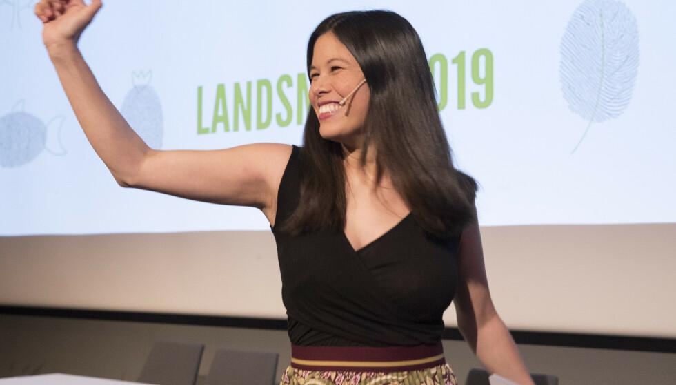 Lan Marie Nguyen Berg talte til Miljøpartiet De Grønnes landsmøte på Fornebu lørdag. Foto: Terje Bendiksby / NTB scanpix