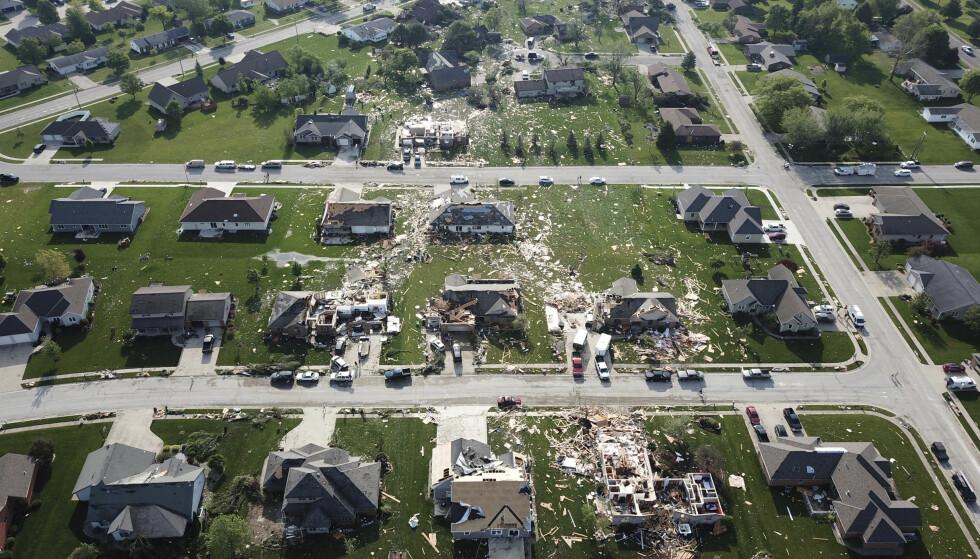 En tornado har etterlatt seg et spor av ødeleggelse i et boligfelt i Celina i delstaten Ohio. Foto: Ryan Snyder / Daily Standard / AP / NTB scanpix