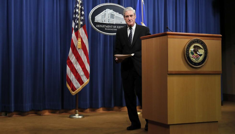 Spesialetterforsker Robert Mueller sier det ikke var aktuelt å anklage Trump, med henvisning til retningslinjene om at en sittende president ikke kan tiltales. Foto: AP / NTB scanpix