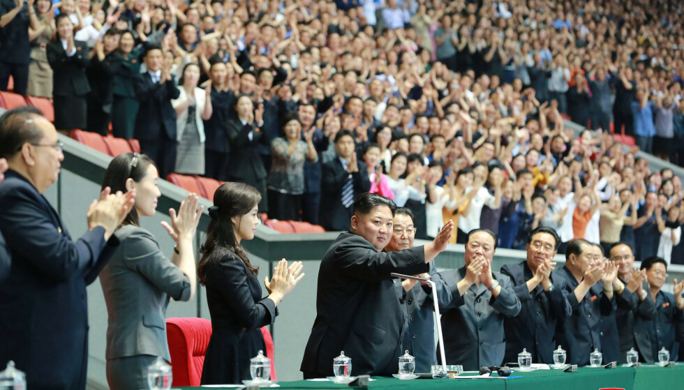 Nord-Koreas leder Kim Jong-un under et idrettsarrangement i May Day Stadium i Pyongyang. Foto: Korean Central News Agency / Korean News Service / AP / NTB scanpix