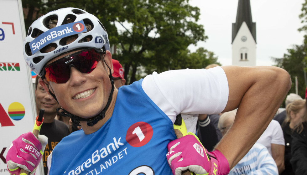 Johannes Høsflot Klæbo vant Kirkebakken Grand Prix rulleskisprint for langrenns- og kombinertløpere på Hamar. Foto: Geir Olsen / NTB scanpix
