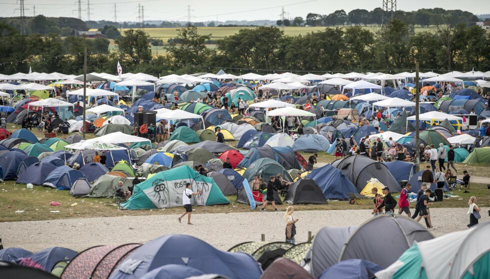 På campingområdet til Roskilde-festivalen er det funnet lystgasspatroner. Foto: Mads Claus Rasmussen / Ritzau NTB scanpix / NTB scanpix.