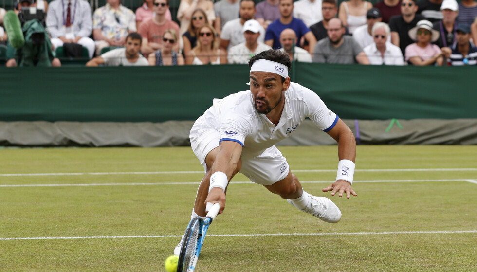 Fabio Fognini tapte 4-6, 6-7 (12-14), 3-6 mot amerikanske Tennys Sandgren i tredje runde av Wimbledon lørdag. Foto: Alastair Grant / AP / NTB scanpix