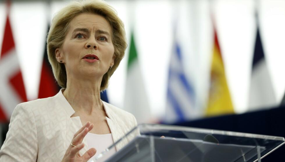 Ursula von der Leyen talte til EU-parlamentet i Strasbourg, før medlemmene skal stemme over hennes kandidatur som ny president for EU-kommisjonen. Foto: Jean-François Badias / AP / NTB scanpix