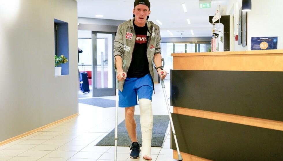 Anders Fannemel er på Olympiatoppen og får nærmere utredning for kneskaden han pådro seg i Wisla tidligere i uken. Foto: Fredrik Hagen / NTB scanpix