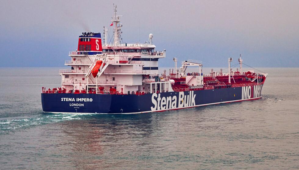 Handout bilde av oljetankeren Stena Impero fra det svenske rederiet Stena Bulk som er oppbrakt av Irans Revolusjonsgarde og ført til iransk havn. Foto: Stena Bulk / NTB scanpix
