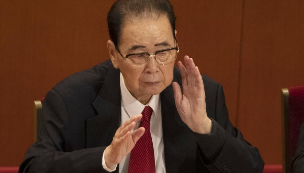 Tidligere statsminister Li Peng i Folkets store hall i Beijing under det kinesiske kommunistpartiets kongress i 2017. Foto: Ng Han Guan / AP / NTB scanpix