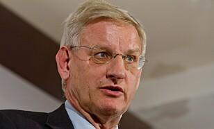 Carl Bildt går hardt ut mot Donald Trump. Foto: NTB scanpix / Sergii Kharchenko/REX