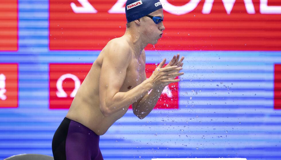 Henrik Christiansen er klar for finalen på 1500 meter fri i svømme-VM i Gwangju i Sør-Korea. Foto: Jessica Gow / TT / NTB scanpix