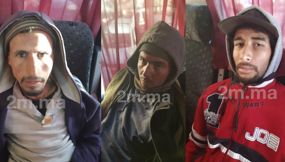 Rachid Afati (t.v.), Ouziad Younes og Abdesamad El Joud (t.h) ble dømt til døden for drapene på norske Maren Ueland og danske Louisa Vesterager Jespersen. Foto: 2M.ma / NTB scanpix.