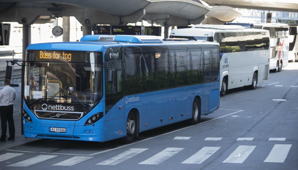 Mandag 5. august parkerer Bane Nor Buss for tog, og gjenopptar vanlig togtrafikk på Østfoldbanen og Drammenbanen. Foto: Terje Bendiksby / NTB scanpix